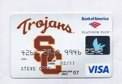 Credit Card: 2007 Platinum Plus VISA, sponsored by USC Trojans, exp 2011