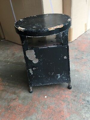 FAB Antique Vintage Metal Milking STOOL with STORAGE Chipped Black Paint Steel