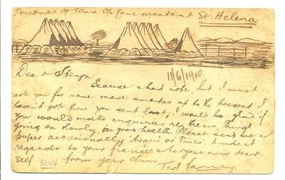 St Helena 1900 Ps Card From Pow Camp With Ink Drawing Of The Camp Fine -- Faults
