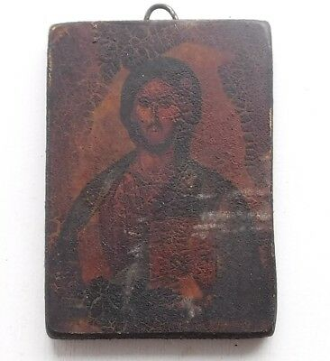 Antique Wooden Religious Icon : Probably Jesus Christ : Significant Age.