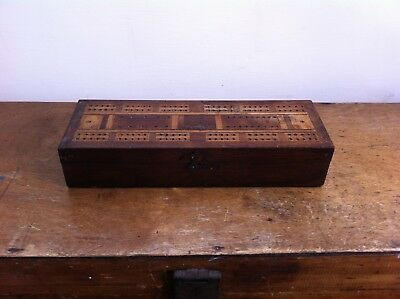 NICE DECORATIVE LARGE ANTIQUE WOODEN CRIBBAGE BOARD BOX 10 by 3.5 inches