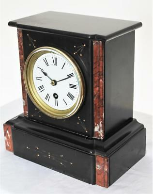 FINE C1880 FRENCH VICTORIAN 8 day POLISHED BLACK SLATE AND MARBLE MANTLE CLOCK
