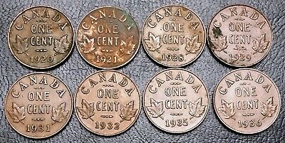 Lot of 8x Canada Small Cent Pennies ***Dates: 1920 to 1936*** King George V