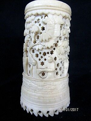 Antique Chinese Intricately Carved Bovine Brush Pot