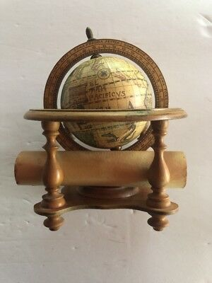 Vintage Olde World Globe Desk Top Astrology Zodiac Marked Made In Italy W/scroll