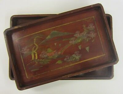 Pair of Antique Japanese Lacquered Trays (see details)