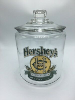Vintage LG Hershey's Milk Chocolate Since 1894 Glass Cookie Candy Jar Canister