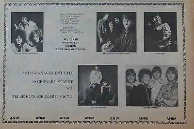 Jimi Hendrix Anim Management ad UK 1967 Eric Burdon Alan Price Soft Machine