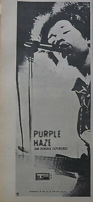 "Jimi Hendrix Experience ""Purple Haze"" large ad UK 1967 + Bonus"