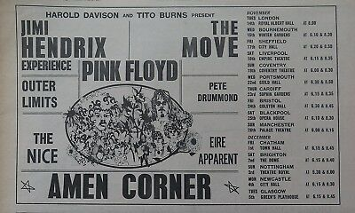 Jimi Hendrix Pink Floyd The Move Nice Eire Apparent UK tour 1967 large ad Bonus