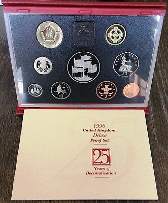 1996 United Kingdom Deluxe Proof 9 Coin Set - In Original Case with COA