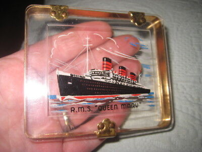 """R.m.s. """"queen Mary"""" Vintage Cigarette Case Brass&clear Plastic Ship On Front  Vg"""