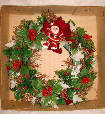 "Vintage Teters Flowers Christmas Wreath IOB Flocked Skating Santa 16"" EUC"