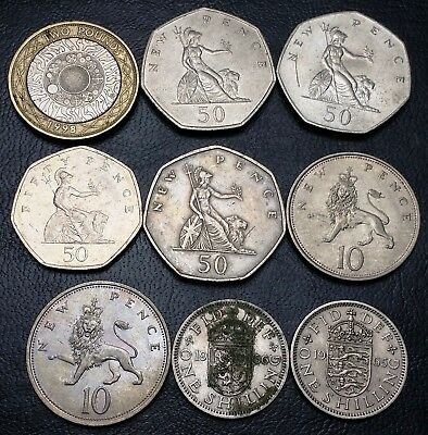 Lot of 9 Great Britain UK Coins - Various Dates & Denominations