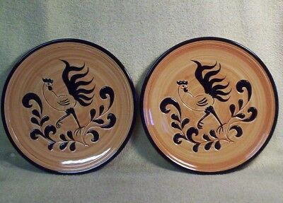 "2 Vintage PENNSBURY POTTERY ""BLACK ROOSTER"" Pattern DINNER PLATES"