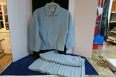 Vintage Kimberly Knitwear Sweater & Skirt Set, Aqua, 100% Virgin Wool
