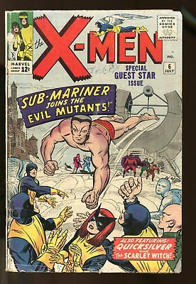 X-Men #6 Good / Fair Sub-Mariner 1964 Marvel Comics