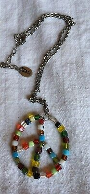 Fun Funky Hippie Style Necklace by Zad ZAD Square Glass Beaded Peace Sign