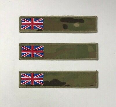 3 x Union Jack MTP Name Tape, Army, Military, Badge, Patch, Combats, Hook Loop