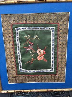 Antique Chinese Pictorial Bird Cardinal Gold Embroidered Silk Panel Bamboo Wood