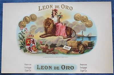 Circa 1900 Embossed LEON DE ORO Cigar Box Label, American Exchange Cigar Co.