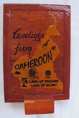 New Handmade Cameroon Africa Wood Map Land of Promise Land of Glory Stand