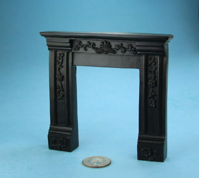 1:12 Scale Dollhouse Miniature Fancy Black Carved Fireplace Mantle #SDF620B