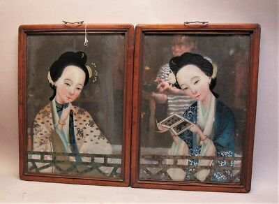 Gorgeous Pair of Antique CHINESE EXPORT Reverse Paintings on Glass  c. 1860