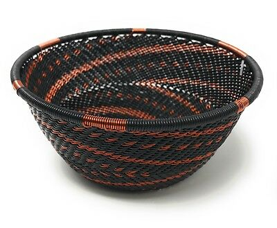 Fair Trade Zulu Telephone Wire Baskets from South Africa - Sm Bowl Copper/Black