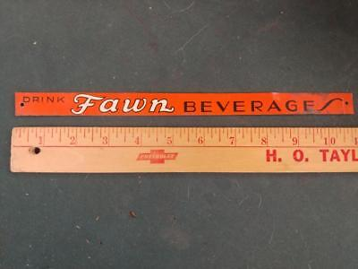 """VINTAGE DRINK FAWN BEVERAGES EMBOSSED TIN LITHO 'STRIP' SIGN-ELMIRA NY-3/4""""x11""""!"""