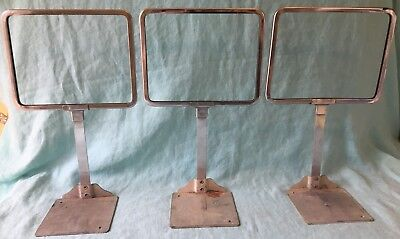 lot vtg 3 metal counter retail store display sign holder fixture USA Large
