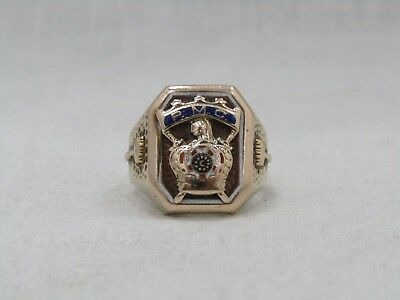 10k Yellow Gold DeMolay Past Master Councilor Ring Size 7.5