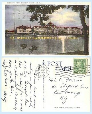 Monmouth Hotel by Night Spring Lake New Jersey 1938 Postcard - Architecture