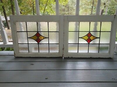 S-21AB Lovely Older Leaded Stain Glass Window F/England 2 Available