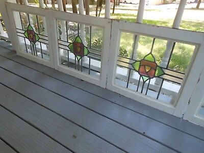 S199 Lovely Older Leaded Stained Glass Window F/England 4 Available ENGLISH ROSE