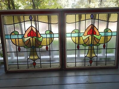 H17-185A Lovely HUGE Older Leaded Stain Glass Window F/France 2 Available