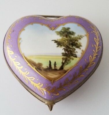 "Vintage Limoges France SCENIC HEART SHAPE Unmarked 3.5"" Long Trinket Box"