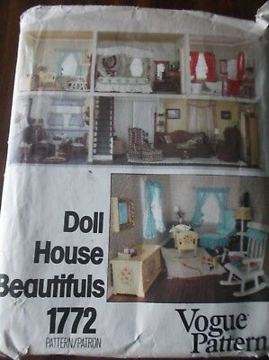 Vintage Sewing Pattern V1772 Doll House Beautifuls Bedspread Curtains Oop
