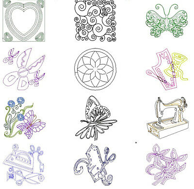 FANCY QUILTING BACKGROUND 90 MACHINE EMBROIDERY DESIGNS 4 sizes CD