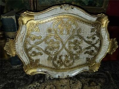 Vintage Ornate Florentine Hollywood Regency Toleware Tray Gold White 11X16
