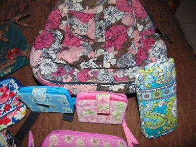 VERA BRADLEY LOT of 8 ITEMS Pink Backback WALLET Glasses Case PURSE Handbag NICE