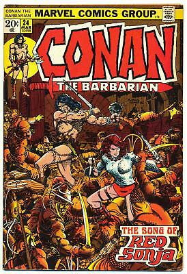 CONAN THE BARBARIAN #24 VG, 1st Full Red Sonja, Barry Smith, Marvel Comics 1972