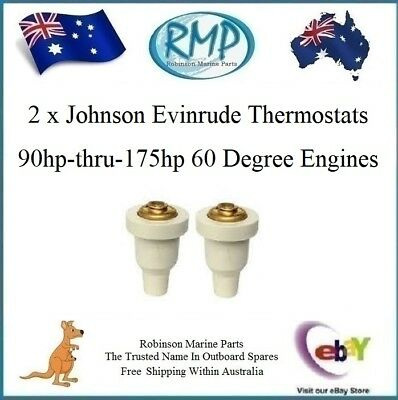 2 x Brand New Thermostats Evinrude Johnson Outboards 90hp-thru-175hp # R 435491