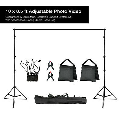 Lusana Studio 10 ft x 8.5 ft Adjustable Photography Backdrop Support System Kit