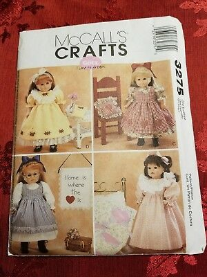 """McCall's Crafts 3275 18"""" inch Doll Patterns Outfits NEW Not Cut"""