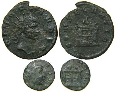 Lot of 2 Coins! OFFICIAL & BARBAROUS, DIVUS CLAUDIUS II, d. AD 270, Altar Type.