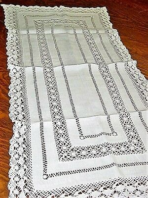 "Vtg.LinenTable Runner-BureauScarf 16x34"" Tenerife Embroidered DrawnThread 1940's"