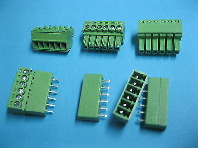 200 pcs Pitch 3.5mm 6way/pin Screw Terminal Block Connector Green Pluggable Type