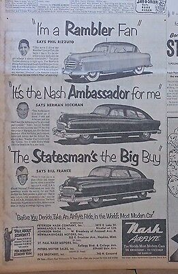 1951 newspaper ad for Nash - Phil Rizzuto, Herman Hickman, Bill France & cars