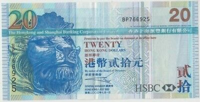 Banknote 2003 Hong Kong $20 showing lion head in good fine condition